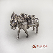 Mexican Donkey Figurine Sterling Silver