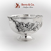 Three Toed Dragon Footed Bowl Chinese Export Silver 1890