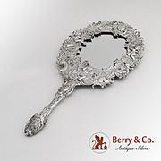 Cherub Hand Mirror Courting Couple Scene German 800 Standard Silver 1890