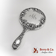 Shell Rose Scroll Hand Mirror Gorham Sterling Silver 1900