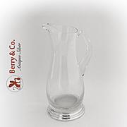 Modernist Large Glass Pitcher Sterling Silver Base 1950