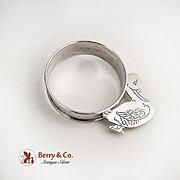 Vintage Duck Napkin Ring Webster Sterling Silver 1940