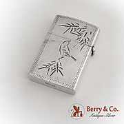 Japanese Bird Bamboo Engraved Lighter Sterling Silver