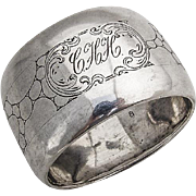 Large Engraved Napkin Ring Dutch 833 Standard Silver 1920