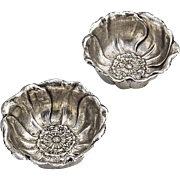 Floral Blossom Nut Condiment Cups Pair Sterling Silver 1890