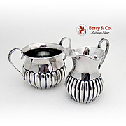 Durgin Creamer Sugar Bowl Fluted Bodies Sterling Silver 1900