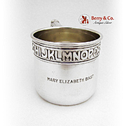 Alphabet Childs Cup Watson Sterling Silver 1930