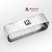 Hand Made Hammered Rectangular Napkin Ring Lebolt Sterling Silver 1930