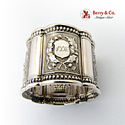 Figural Repousse Napkin Ring Coin Silver 1850