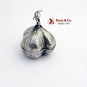 Vintage Garlic Form Pill Box Sterling Silver Mexico