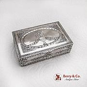 Hanau Repousse Box Gilt Interior German 800 Silver 1900