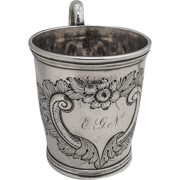 Repousse Floral Cup Mug George B Foster Coin Silver 1860