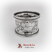 Vintage Repousse Grape Vine Napkin Ring Coin Silver 1880