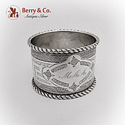 Engine Turned Greek Key Napkin Ring Twisted Rims Coin Silver 1870