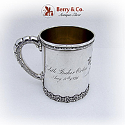 Tiffany And Co Ornate Cup Mug Gilt Interior Ribbed Handle Sterling Silver