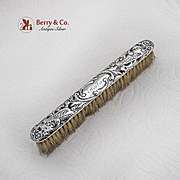 Repousse Floral Bird Clothes Brush William Comyns Sterling Silver 1900