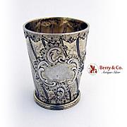 Antique Ornate Liquor Shot Cup German 800 Silver Gilt 1890