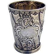 Antique Ornate Liquor Shot Cup German 800 Silver Gilt 1890