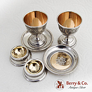 Vintage Egg Cups Trencher Salts And Plates Set Gilt Interior Coin Silver 1870