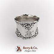 Vintage Floral Napkin Ring Monogrammed Sterling Silver