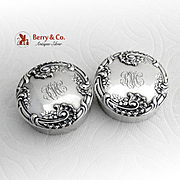 Art Nouveau Round Pill Boxes Pair Dominick And Haff Sterling Silver 1900