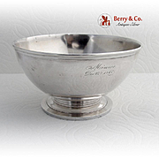 Vintage Round Footed Serving Bowl Gorham Coin Silver 1865