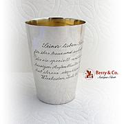 Vintage German Cup Inscribed Gilt Interior 800 Standard Silver 1905