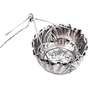 French Ornate Tea Strainer Basket Silverplate 1890