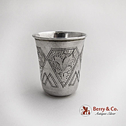Engraved Architectural Design Vodka Cup Russian 84 Silver 1894