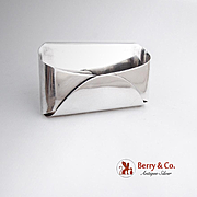 Modernist Letter Business Card Holder Scandinavian Sterling Silver