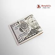 Vintage Mayan Calendar Openwork  Money Clip Sterling Silver Mexico