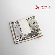 Modernist Wide Plain Money Clip Sterling Silver 1980