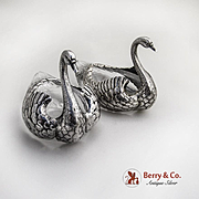 Figural Swan Dishes Pair Glass Shreve Crump And Low Co Sterling Silver