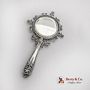 Ornate Small Hand Mirror Sterling Silver 1900
