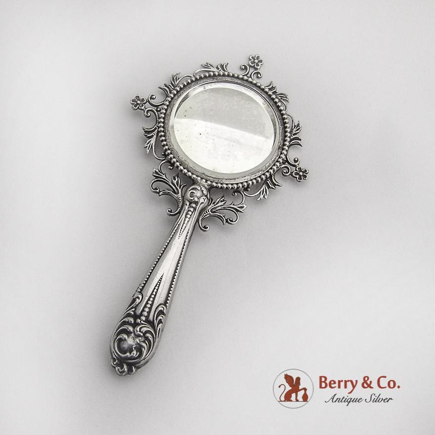 Ornate small hand mirror sterling silver 1900 from for Small silver mirror