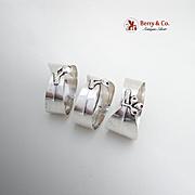 Figural Eucalyptus Napkin Rings Set Australian Sterling Silver 1950