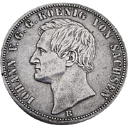 1871 B Saxony 1 Thaler Victory Over France Commemorative Silver