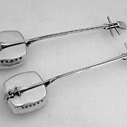 Japanese Sterling Silver Shamisen Salt & Pepper Shakers 1930