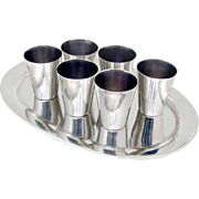Vintage Shot Cups Tray Set Margarita Sterling Silver Mexico 1960