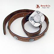 Vintage Sterling 10 2 4 Dr Pepper Buckle 1885 Morgan Silver Dollar Leather Belt 1955