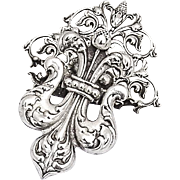Fleur De Lis Openwork Scroll Paper Clip Shiebler Sterling Silver 1890