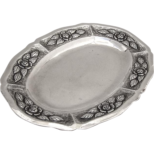 Ornate Oval Dresser Tray Sanborns Sterling Silver Mexico