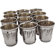 French Engraved Shot Cups Set Gilt Interior Sterling Silver 1900