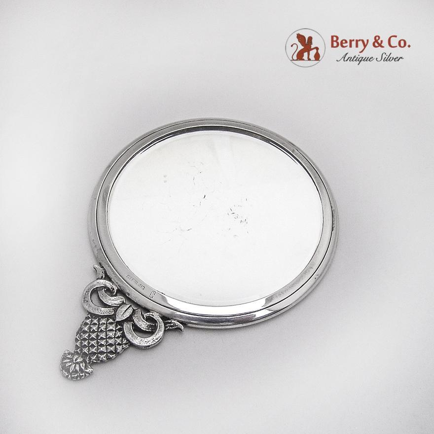 Small round hand mirror figural pineapple handle sterling for Small silver mirror