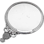 Small Round Hand Mirror Figural Pineapple Handle Sterling Silver 1950