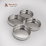 Modernist Plain Round Coasters Set Sterling Silver 1940