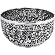 Antique Ornate Bowl Hand Chased Animals Floral Patterns Sterling Silver 1900