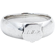Vintage Hollow Napkin Ring Applied Shield Monograms Coin Silver 1860