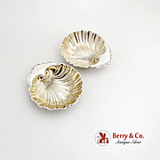 Vintage Shell Dishes Pair Gilt Interior Gorham Sterling Silver