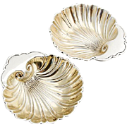 Vintage Shell Dishes Pair Gilt Interior Gorham Sterling Silver